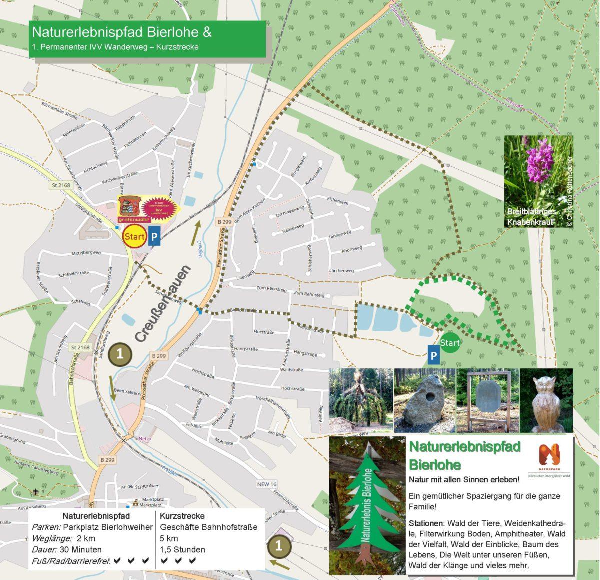 Streckenkarte Naturerlebnispfad Bierlohe