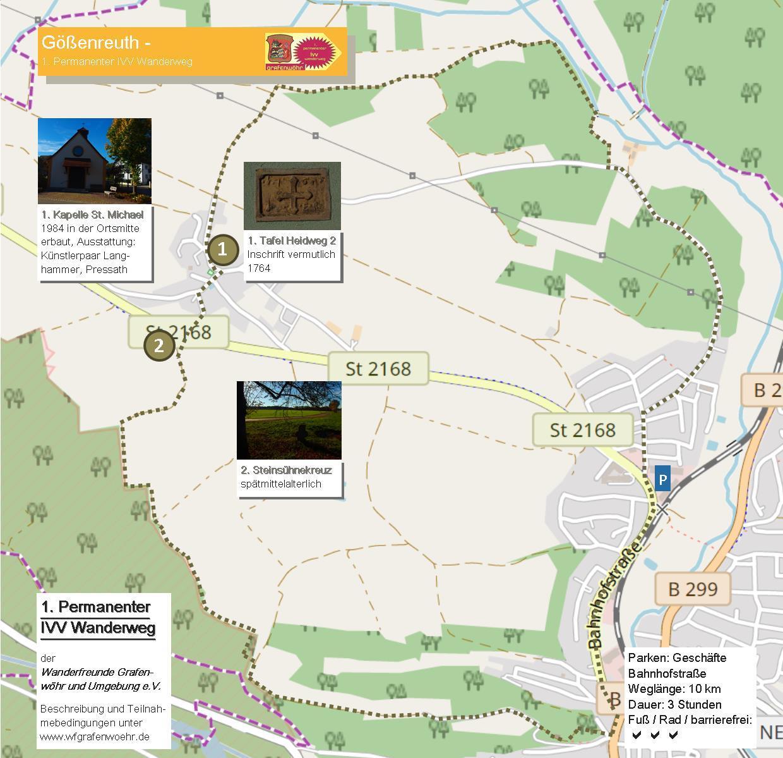 Karte mit Wegstrecke Goessenreuth