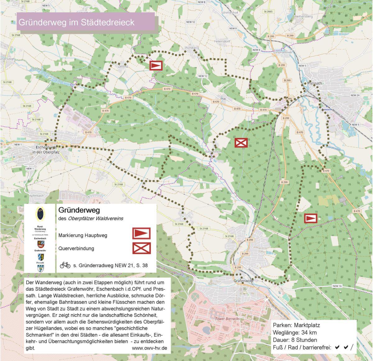 Karte mit Wegstrecke Gruenderweg