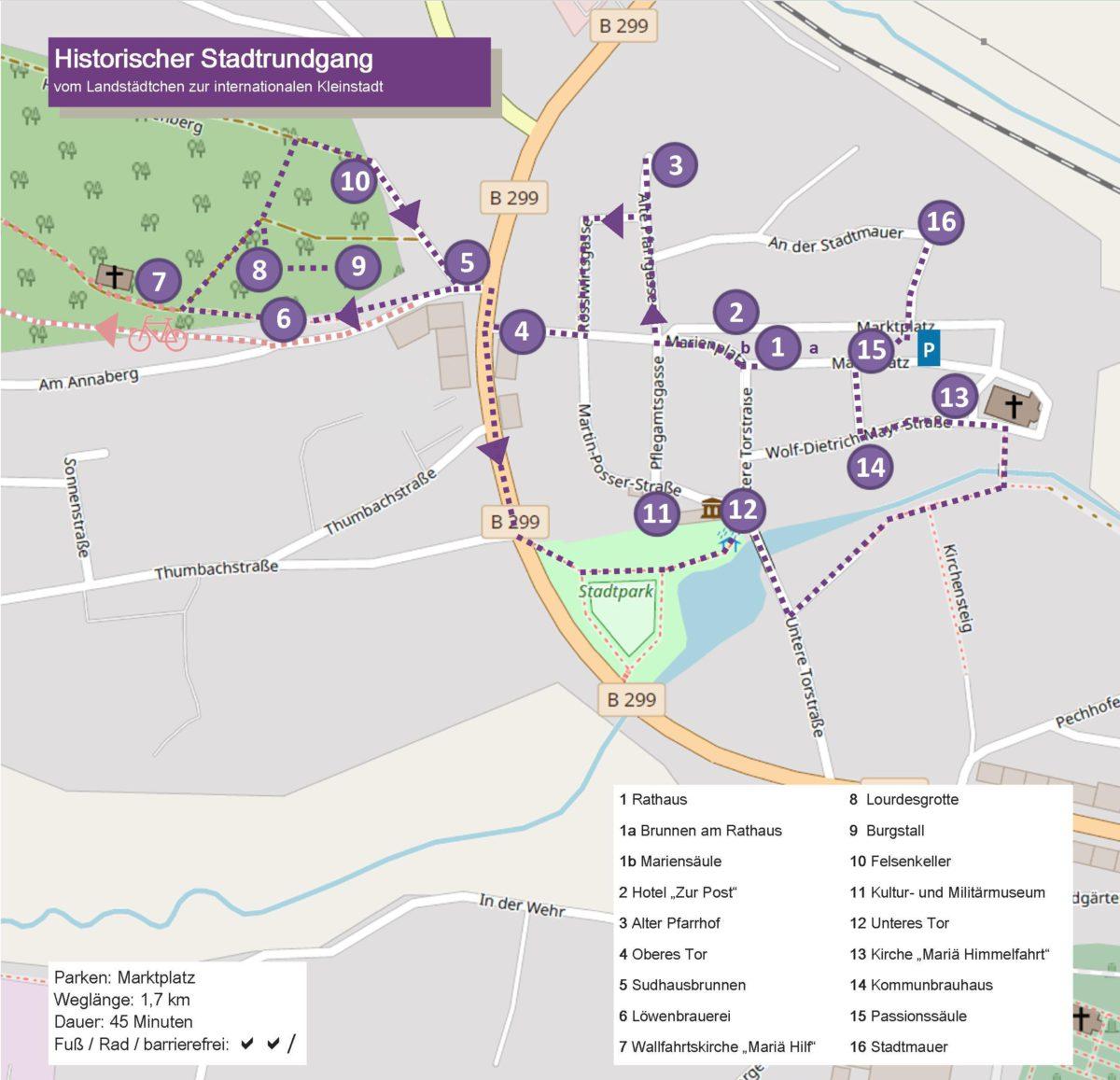 Karte mit Wegstrecke historische Stadtfuehrung
