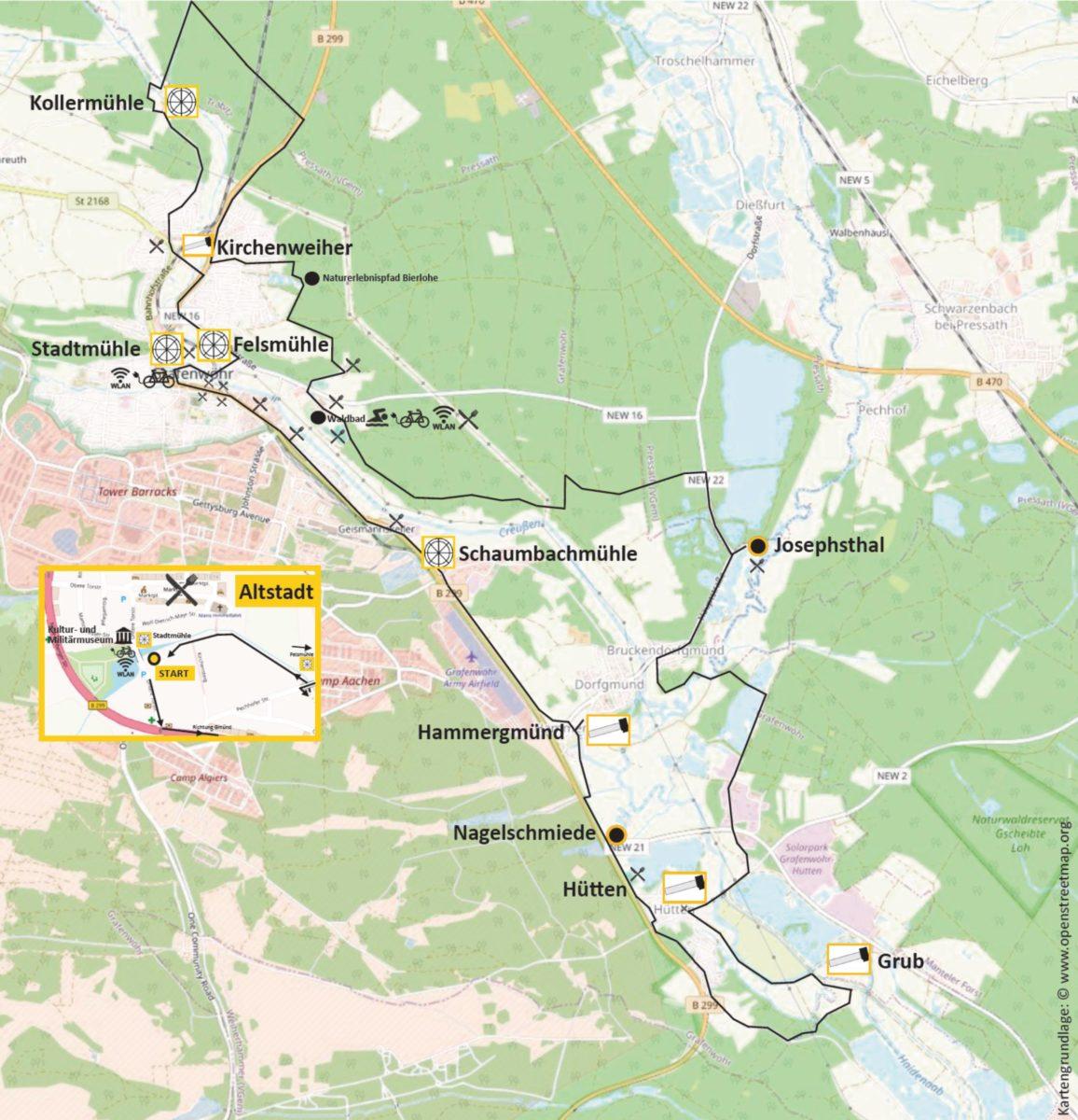 Streckenverlauf Radweg Hämmer und Mühlen